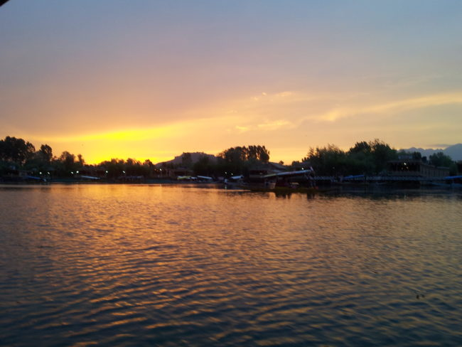 Sunset over Dal Lake