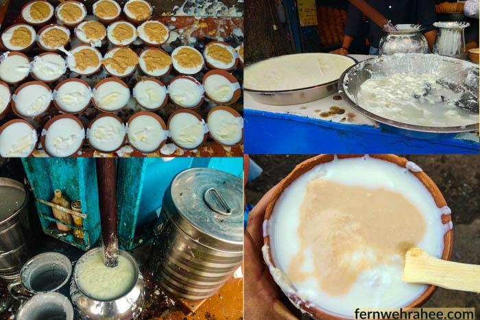 Street food in varanasi famous Malai Rabari Lassi